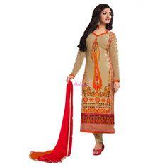 Beige Georgette #Party Wear Churidar Kameez With Dupatta #Salwarkameez