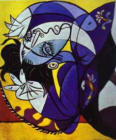 'mädchen auf einer kissen', öl von Pablo Picasso (1881-1973, Spain)