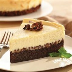 Brownie Chocolate Chip Cheesecake from Eagle Brand® Sweetened Condensed Milk is a sweet treat for your sweetheart this Valentine's Day.