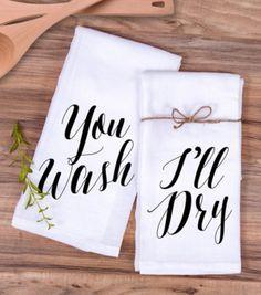 You wash I'll dry dish towels