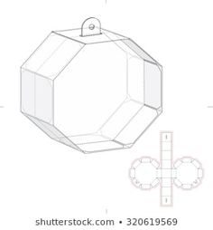 Find Octagonal Box Die Line Template stock images in HD and millions of other royalty-free stock photos, illustrations and vectors in the Shutterstock collection. Paper Gift Box, Diy Gift Box, Diy Paper, Paper Art, Origami Templates, Gift Wraping, Creative Box, Cardboard Packaging, Christmas Paper Crafts