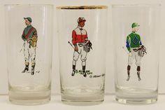 Set of (3) Robert Riger Jockey Highball Glasses