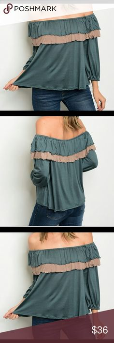Ruffled off the shoulder top Ruffled off the shoulder top Green & Taupe 94% Rayon 4% spandex   Made is USA.             2 Small 2Med 2 Large Threadzwear Tops Blouses