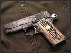 Hand Engraved 1911 Colt Officers Model by Dennis Reigel
