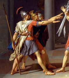 Detail : Oath of the Horatii.1784.Jacques Louis David. French. 1748-1825. oil /canvas. Louvre Museum.