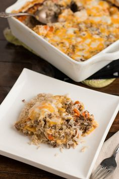 cheesy ground beef and rice casserole! ohsweetbasil.com. I used ground turkey instead and it was good.