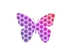 Peach Pink Purple Butterfly In Hexagonal Pattern II by Shelley Neff Photography