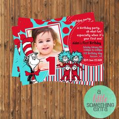 dr seuss birthday invitations | Dr. Seuss Invitation- Cat in the Hat Birthday Invitation-Printable ...