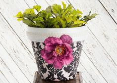 Fabric covered clay pot