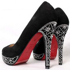 Welcome to the Christian Louboutin Group section of the Fashion Industry Network. In this group we can discuss Christian Louboutin fashion and the company behi… Cute Shoes, Me Too Shoes, Awesome Shoes, Amazing Heels, Fancy Shoes, Black Heels, High Heels, Black Suede, Stilettos