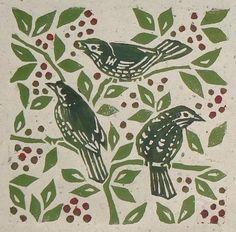 Fieldfares linocut print by Jane Kendall