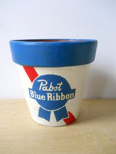 -A Pabst Blue Ribbon Painted Flower Pot to hold tools, desk supplies, remote controls, snacks or A PLANT! Decorated Flower Pots, Painted Flower Pots, Happy Fathers Day, Fathers Day Gifts, Pabst Blue Ribbon, Great Father's Day Gifts, Dad Day, Clay Pots, Christmas Projects