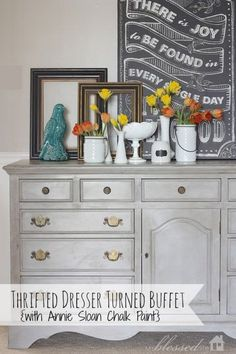 Thrifted Dresser Turned Buffet by My Blessed Life: featured at Mrs. Hines' Class  I like the gray color