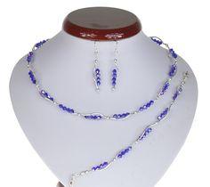 BIŻUTERIA ŚLUBNA KOMPLET ŚLUBNY wieczorowy posrebrzany kryształki bicone chabrowy  KP196 Beaded Necklace, Jewelry, Fashion, Beaded Collar, Jewlery, Moda, Pearl Necklace, Jewels, La Mode