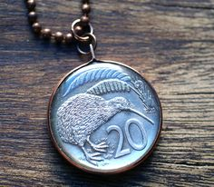 New Zealand Kiwi Coin Pendant. $19.00, www.lorinda3ljewelry.etsy.com
