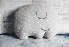 Big stuffed elephant pillow nursery decor 10x12 inches primitive animal stuffed toy baby shower gift grey white hearts - HandyHappyTeddy