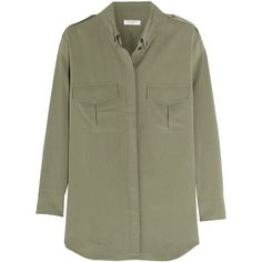 Equipment Major washed-silk shirt (685 CAD) ❤ liked on Polyvore featuring tops, shirts, blouses, green, military green shirt, equipment shirts, military shirts, silk shirt and shirts & tops