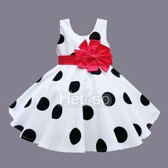 Baby's Sleeveless Black & White Polka Dotted Party Dress with Big Red Bow