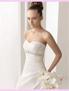 White Ball Beading Taffeta Wedding Dress
