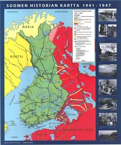 Suomen historia 1941 - 1947 Old Maps, Nordic Design, Interesting History, Crests, Historian, Ancient History, Independence Day, Geography, Good To Know