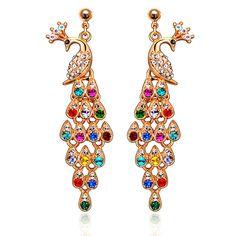 Peacock Dangle Drop Earrings