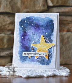 Card by Amy Sheffer. Reverse Confetti stamp sets: You Are a Star and Fancy Word Coordinates. Confetti Cuts: You Are a Star. Congratulations card.