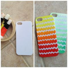 DIY ombre chevron phone case!!