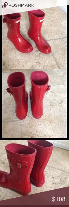 Short Red Hunter Boots size 7 Great condition short red glossy size 7 hunter boots Hunter Boots Shoes Winter & Rain Boots