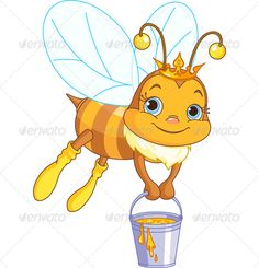 Illustration about Cute bee flies with a bucket full of honey. Illustration of flying, queen, clipart - 42152059 Queen Bee Images, Honey Logo, Bee Clipart, Blank Business Cards, Bee Tattoo, Cute Bee, Bullet Journal Art, Bee Art, Bee Theme