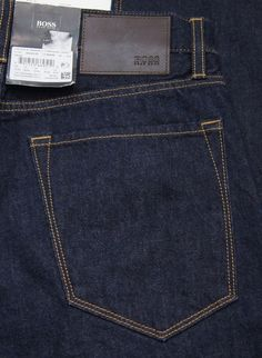 "HUGO BOSS ""Maine"" Regular Fit Dark Blue Straight Leg Jeans NEW NWT  #HugoBoss #ClassicStraightLeg"