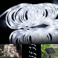 LE® 16.5ft LED Solar Rope Lights, Waterproof, 50 LEDs, Outdoor Rope Lights, Daylight White, Portable, with Light Sensor, Ideal for Christmas, Wedding, Party, Decorations, Gardens, Lawn, Patio
