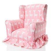 Pink/White Giraffe- Upholstered Chair