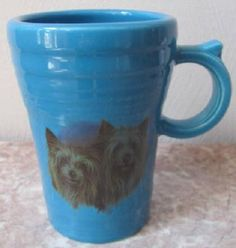 Fiesta Fiestaware Latte Mug w/ 2 Yorkshire Terrier Dogs Yorkies - Peacock Blue