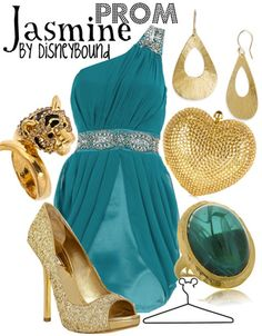 16 Disney-fied Prom Ensembles The gender bent and abstract ones are my favorites. Fashionista Disney Bound has an eye for putting together outfits that evoke characters without going into parody. Disney Prom Dresses, Disney Princess Outfits, Disney Bound Outfits, Prom Outfits, Cute Outfits, Disney Homecoming, Homecoming Ideas, Disney Princesses, Aladdin