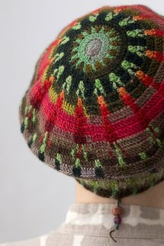 Crocheted Hat Beret Slouch -- Green Sun of the Forest