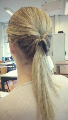 Turned-in ponytail.