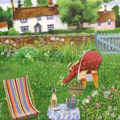 'Bottoms Up' By Artist Stephanie Lambourne. Blank Art Cards By Green Pebble… Garden Painting, Garden Art, Painting & Drawing, Art And Illustration, Illustrations, Arte Country, Naive Art, Art Club, Whimsical Art