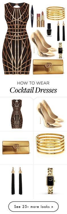 """""""black and gold cocktail"""" by marvamarvels on Polyvore featuring Hervé Léger, Giuseppe Zanotti, Gucci, Kenneth Jay Lane, Chanel, Yves Saint Laurent, Maybelline and Barry M"""