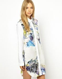 Louise Amstrup Shirt Dress with All Over Ornamental Print