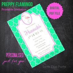 PREPPY FLAMINGO INVITATION, Printable, Personalized, Girls Invitation, Flamingo Party, Flamingo Birthday, Pink Flamingo, Green, Diy Printing by LoveThatPartyInvites on Etsy
