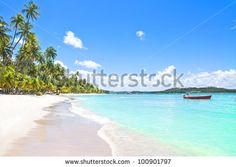 Red Boat In A Tropical Beach In Brazil, Carneiros beach, Pernambuco, Brazil