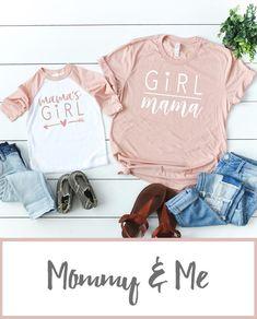 Mom Shirts Discover Girl Mom-Mamas Girl T-shirt Set Mom And Me Shirts, Sister Shirts, Baby Shirts, Shirts For Girls, Girl Shirts, Onesies, Baseball Mom Shirts, Marvel Logo, Mother Daughter Shirts