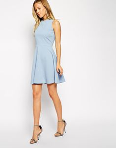 ASOS | ASOS Skater Dress in Texture with High Neck at ASOS