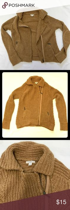 Nordstrom  Moto Inspired Sweater Jacket Cozy camel sweater jacket with zipper and pockets. GUC some pilling/fuzzies, but that is nature of the wide rib knit. Great basic to throw over anything. Offers more structure than a Cardigan, but just as comfy. Caslon Sweaters Cardigans