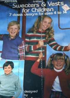 Knitting Patterns Children Cardigans Sweaters and by elanknits (Craft Supplies & Tools, Patterns & Tutorials, Fiber Arts, Knitting, knitting patterns, sweater patterns, vest patterns, cardigan pattern, boy, girl, Leisure Arts 234, Evie Rosen, turtleneck pattern, worsted weight yarn, sport weight yarn, jumper patterns, waistcoat patterns)