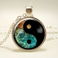 Soft Grunge Yin Yang Nebula Necklace, Indie Galaxy Pendant, Cosmic Hipster Jewelry (1988S1IN) by rainnua on Etsy