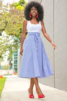White Bodysuit + Gingham Midi Skirt