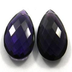 Fine Polished Amethyst Hydro 18x25mm Pear Cut Pendant/Earring Making Gemstone