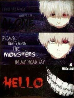 don't we all have that one monster in us😔 Sad Anime Quotes, Manga Quotes, Manga Japan, Tokyo Ghoul Quotes, Rasengan Vs Chidori, Tokyo Ghoul Wallpapers, Dark Quotes, Anime Life, Badass Quotes