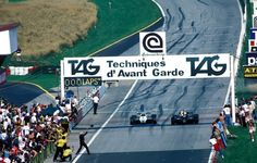 Elio de Angelis wins the 1982 Austrian GP by a mere 0.5 seconds. Keke Rosberg finished in 2nd place.